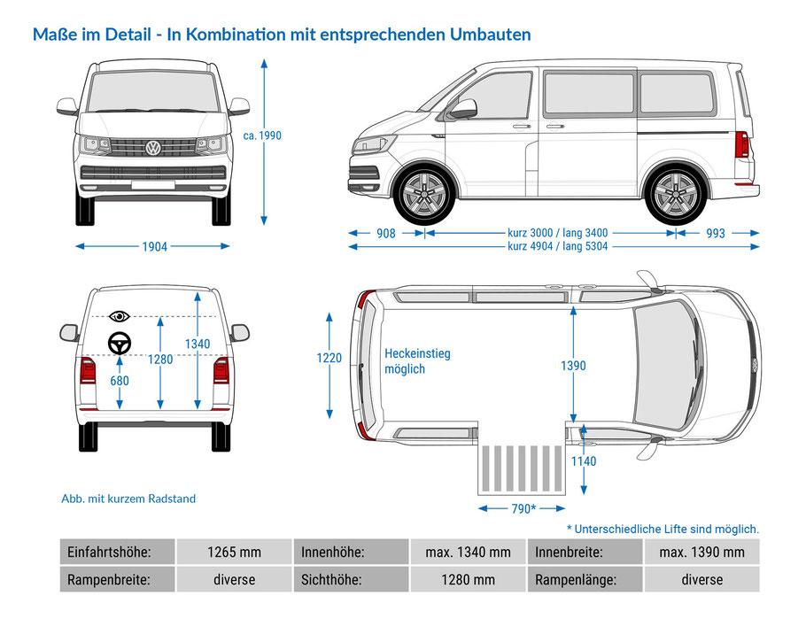 Behindertengerechter VW T6.1 Maße