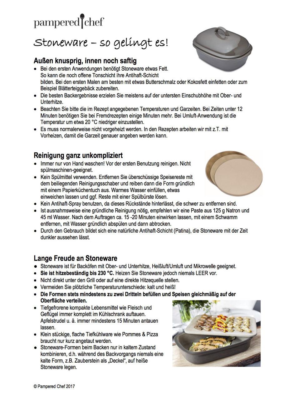 Anleitung für Stoneware von Pampered Chef