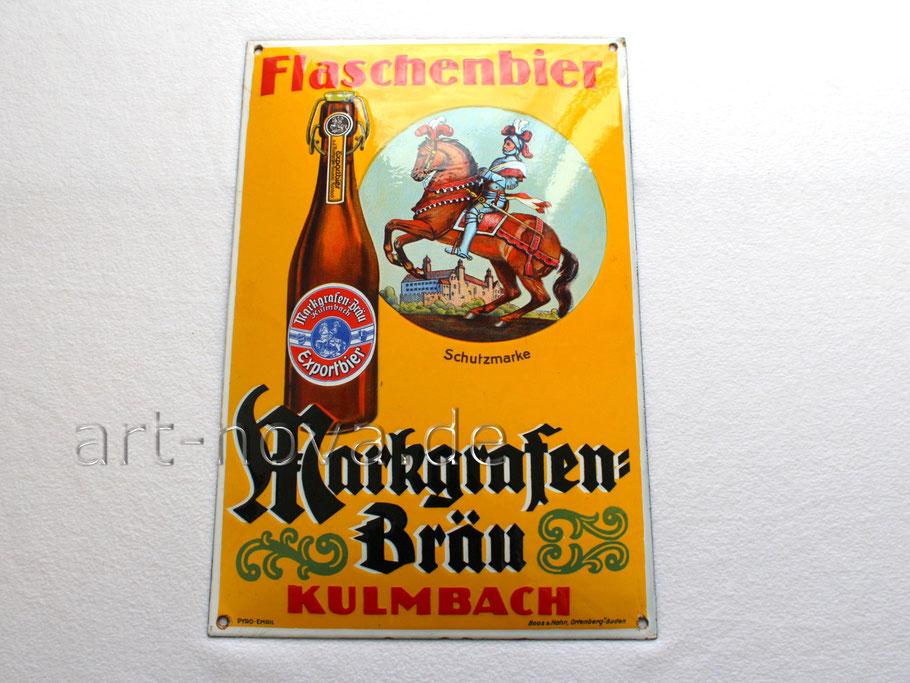 Emailleschild Markgrafen-Bräu Kulmbach mit wunderbaren Glanz im Traumzustand!