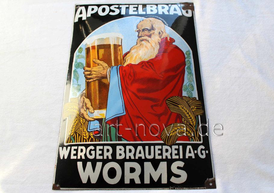 Reklameschild Apostelbräu Brauerei Werger Worms