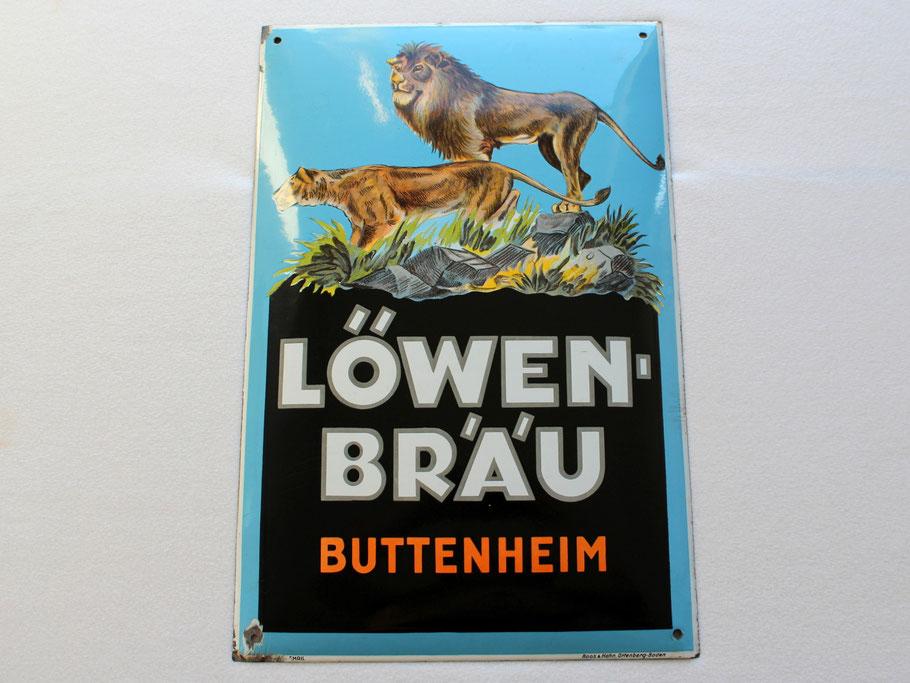 Emailschild Löwenbräu Buttenheim bei Bamberg um 1930