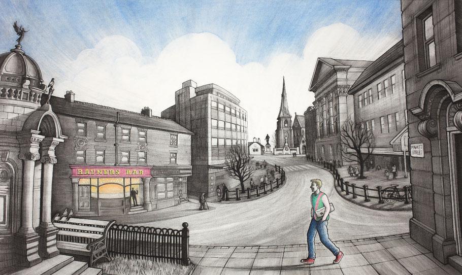 Clare Allan charcoal drawing Bury