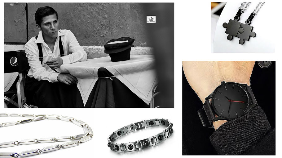 gourmette acier, chaine homme noir et montre design pour un style masculin