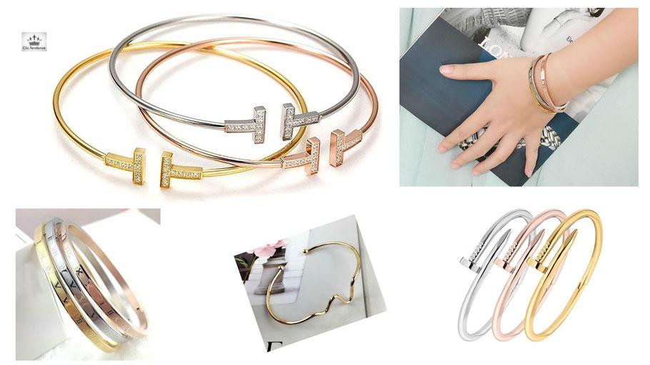 Bracelet Femme Tendance et jonc Originaux or