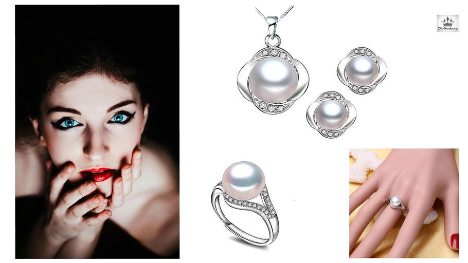 offrez une box bijoux en perle de culture et argent 925, parure et solitaire