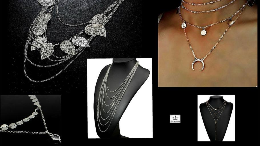 sautoir-chaine et collier multi-rangs pour femme