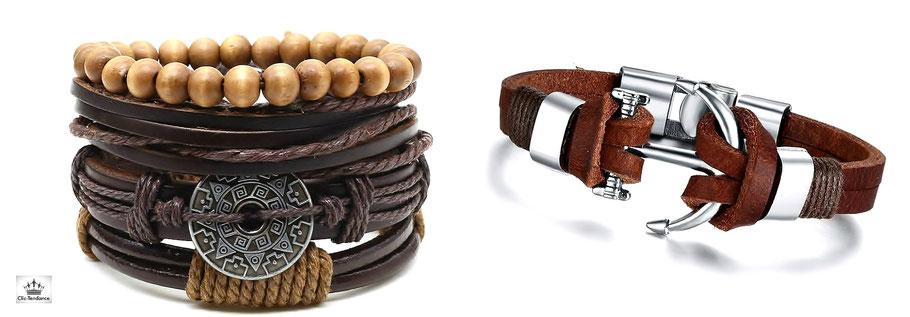 braclet cuir tendance pour homme et femme lanière de cuir et acier