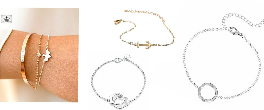 Bracelet femme bijoux fin tendance en or ou argent