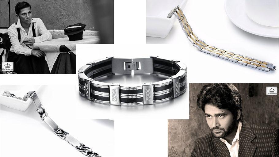 bracelet homme acier inox - gourmette argent ou or accessoires tendance au masculin