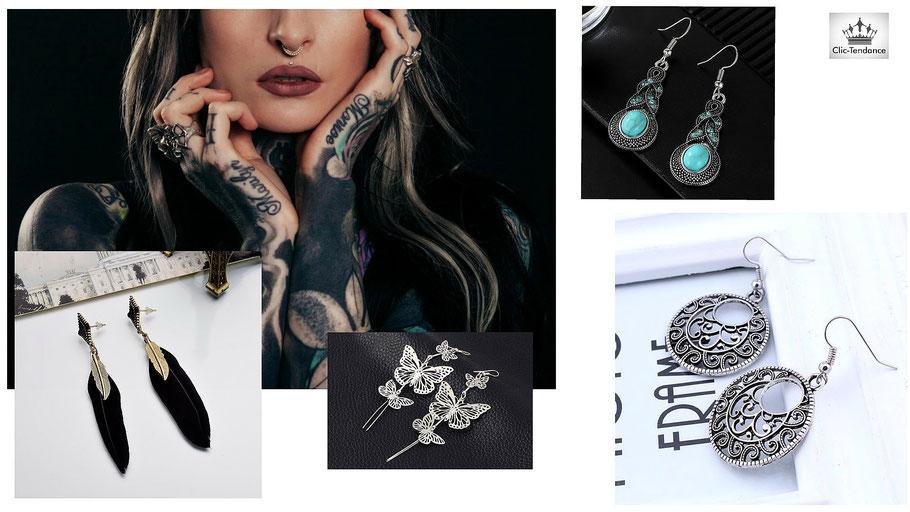 Boucles d'oreilles fantaisie et bijoux de créateur