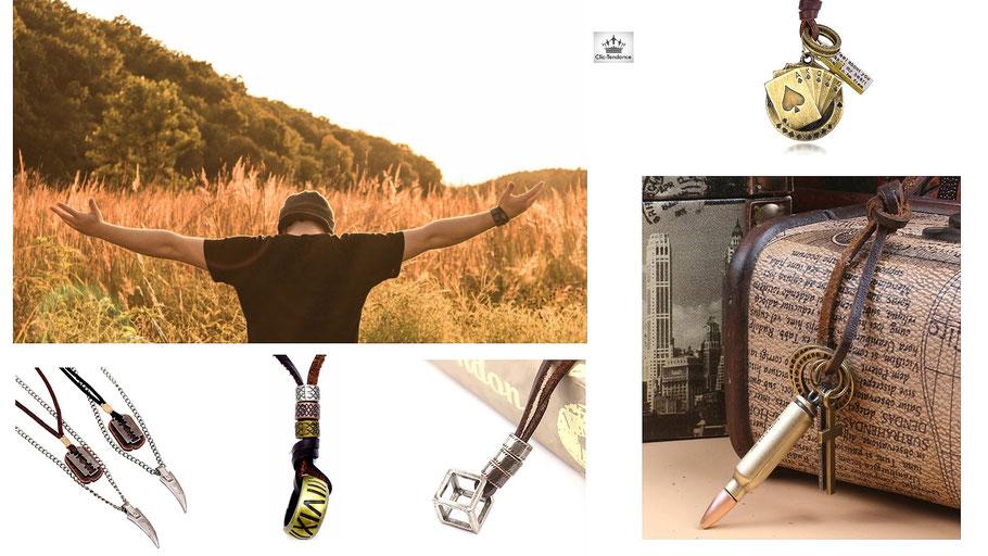 Collier cuir pour homme style casual et bronze