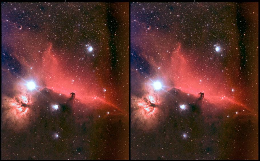 IC 434 Pferdekopfnebel  - 3D-Bild      IC 434 Horseheadnebula 3D - cross view picture MeixnerObservatorium