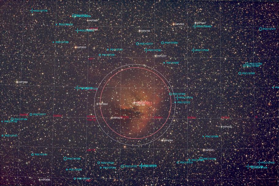 NGC 281 Pacman-Nebula Objectidentifikation - NGC 281 - Pac-Man-Nebel -  Objektidentifikation MeixnerObservatorium