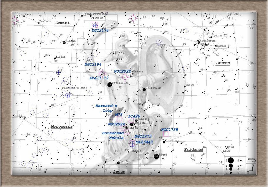 Messier 42 Orion Nebula Finderchart - M 42 Orionnebel Aufsuchkarte MeixnerObservatorium