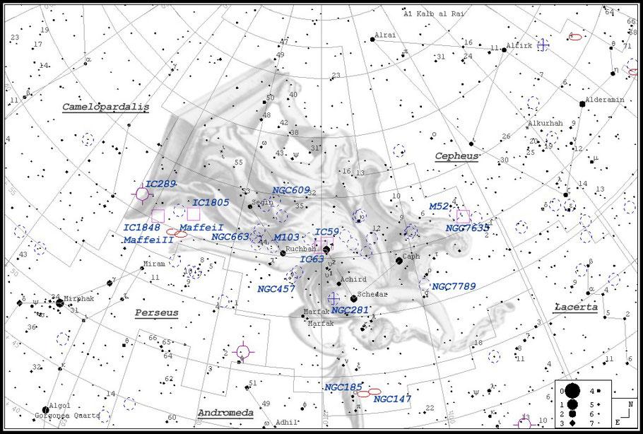 NGC 281 Pacman-Nebula Finderchart - NGC 281 Pac-Man-Nebel - Aufsuchkarte MeixnerObservatorium