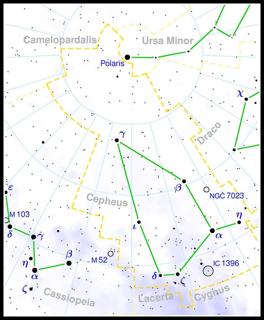 NGC 7023 • Iris-Nebel  • IRAS 20599+6755 • Cr 429 · vdB 139 · Caldwell 4 •  Aufsuchkarte MeixnerObservatorium