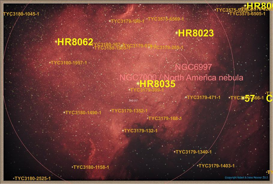 NGC 7000 Northamerica Nebula Objectidentifikation - NGC 7000 Nordamerikanebel Objektidentifikation MeixnerObservatorium