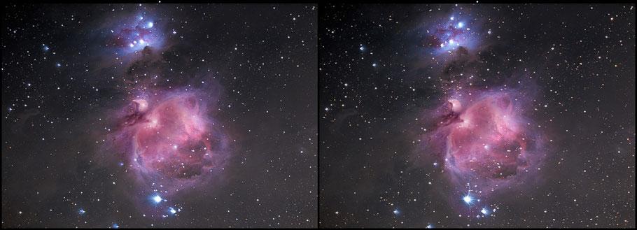 Messier 42 - Der Orionnebel als 3D Kreuzblick-Bild  MeixnerObservatorium