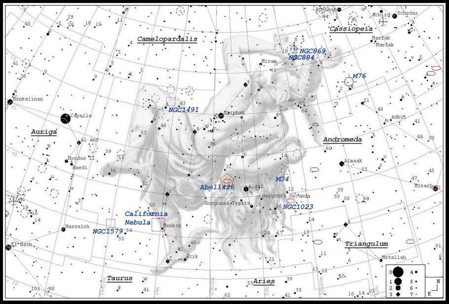 NGC 1499 - Kalifornien-Nebel - California-Nebula - Aufsuchkarte MeixnerObservatorium