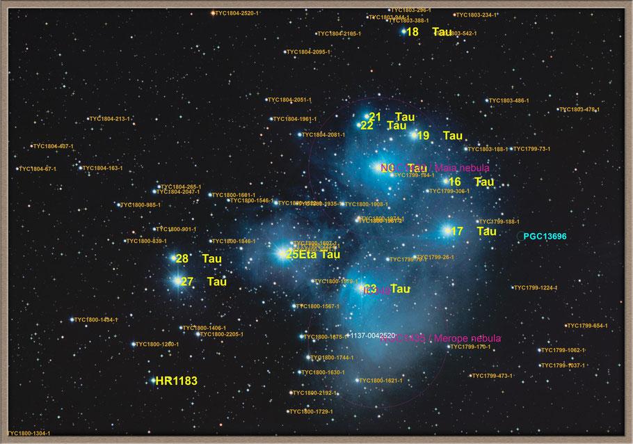 Messier 45 - Pleiades - Objectidentifikation - M 45 Plejaden Objektidentifikation - MeixnerObservatorium