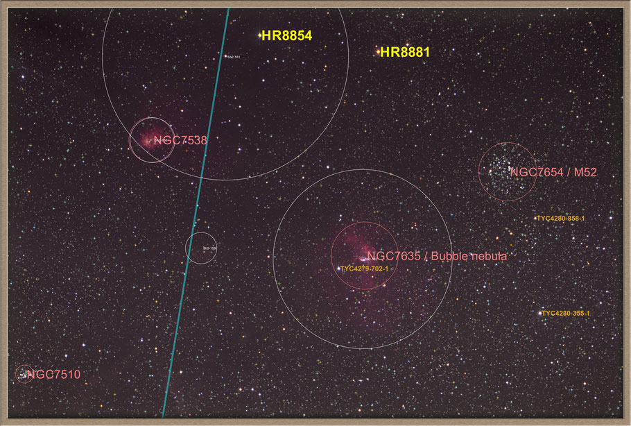 NGC 7635 Bubble-Nebula Objectidentifikation - NGC 7635 - Blasen-Nebel -  Objektidentifikation MeixnerObservatorium