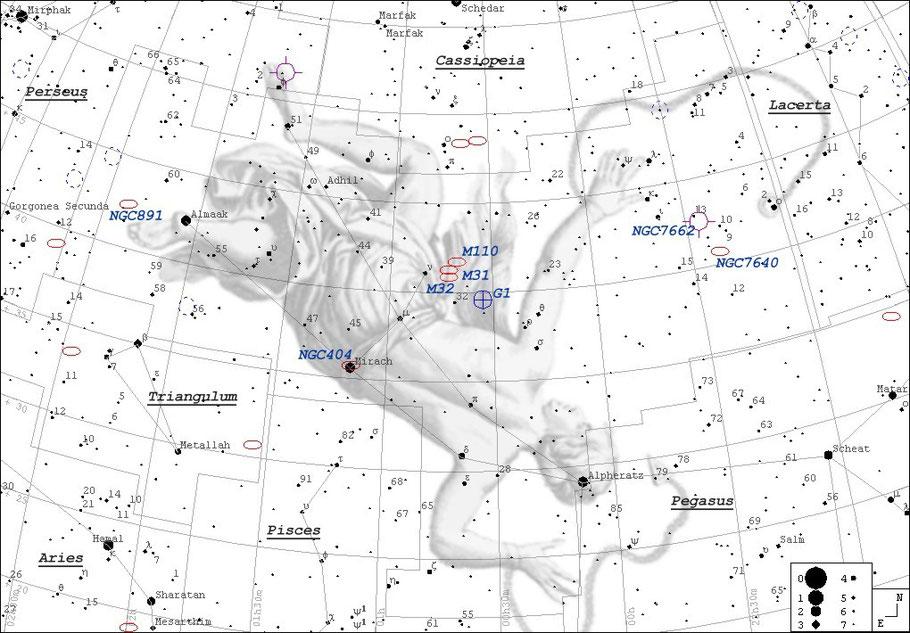 Messier 31 - Andromedagalaxie Finderchart • NGC 224 • UGC 454 • PGC 2557 • CGCG 535-17 • MCG +7-2-16 • IRAS 00400+4059 • 2MASX J00424433+4116074 • GC 116 • h 50 • Bode 3 • Flamsteed 58 • Hevelius 32 • Ha 3.3 • IRC +40013 MeixnerObservatorium