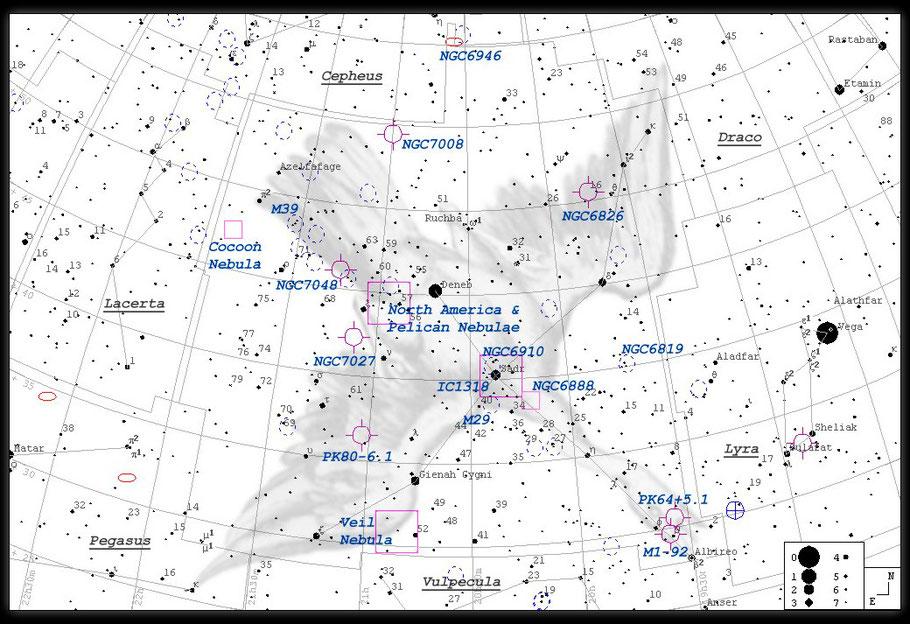 NGC 6888, Crescent-Nebel, Sichelnebel, LBN 203, H 4. 72, GC 4561 - Finderchart / Aufsuchkarte  MeixnerObservatorium