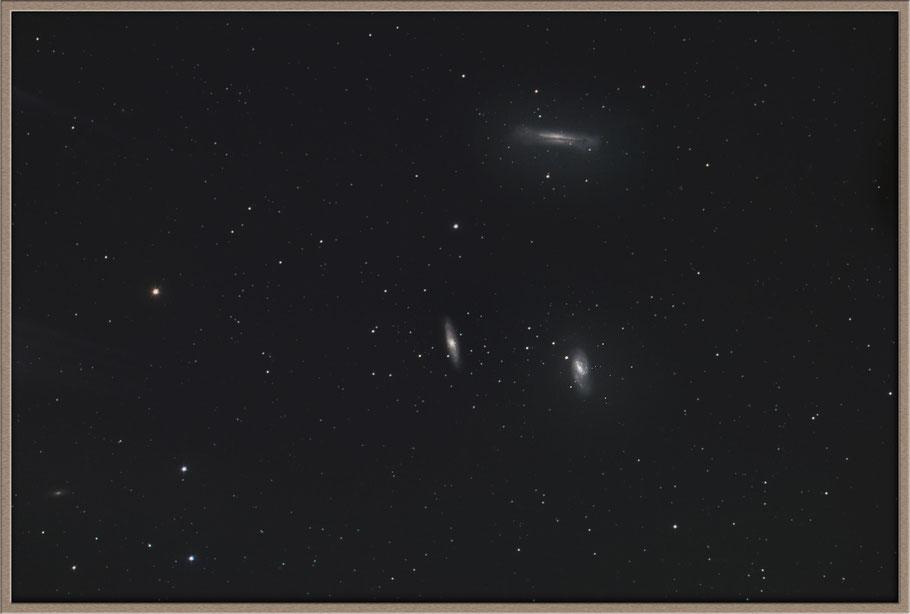 NGC 3628, M 66, NGC 3627, M 65, NGC 3623, The star 73Leo