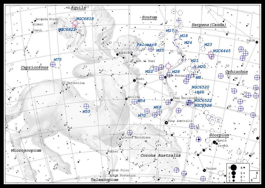 Finderchart Messier 17 • Omeganebel • NGC 6618 •  OCISM 9 • W 38  - MeixnerObservatorium/ Aufsuchkarte M17