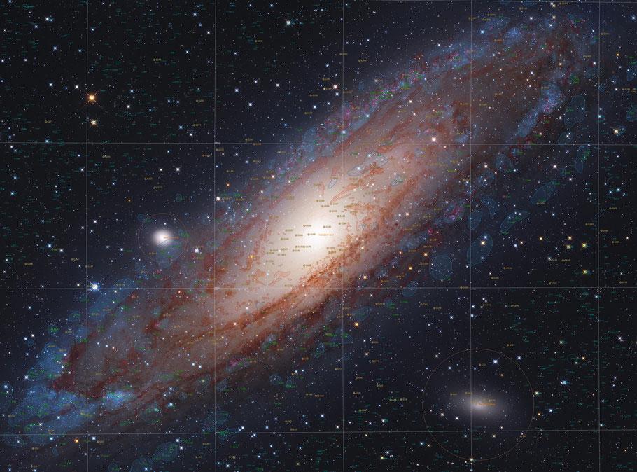 Messier 31 - Andromedagalaxie  Objectidentifikation • NGC 224 • UGC 454 • PGC 2557 • CGCG 535-17 • MCG +7-2-16 • IRAS 00400+4059 • 2MASX J00424433+4116074 • GC 116 • h 50 • Bode 3 • Flamsteed 58 • Hevelius 32 • Ha 3.3 • IRC +40013 MeixnerObservatorium