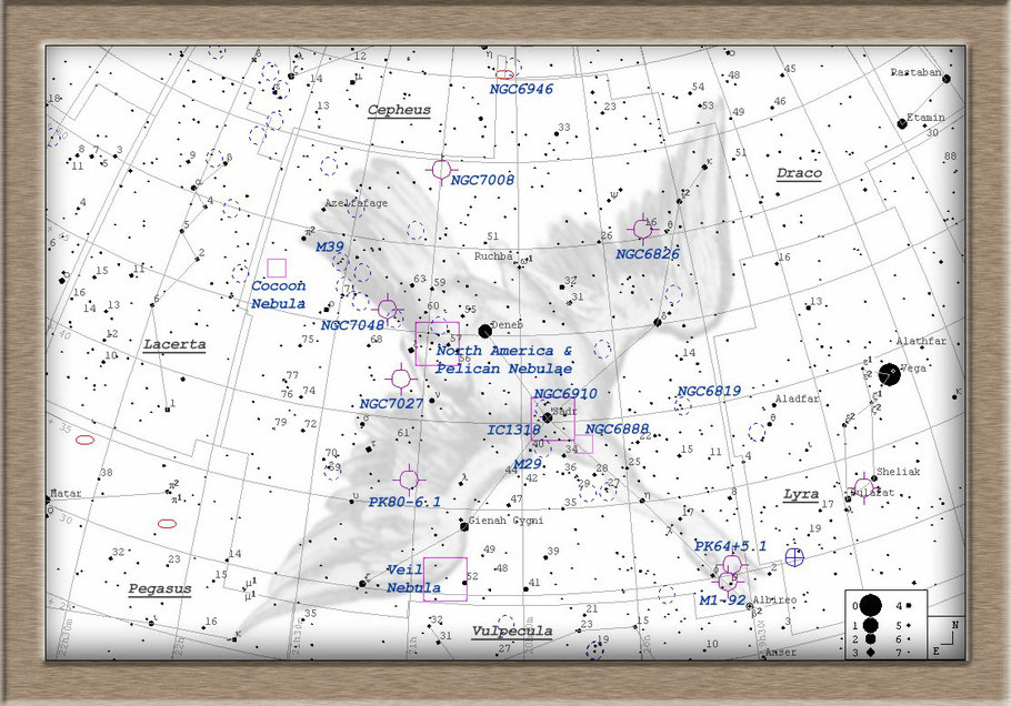 IC 1318, γ-Cygni-Nebel oder Schmetterlingsnebel und Stern Sadr + Dunkelwolke LDN 889 Aufsuchkarte MeixnerObservatorium