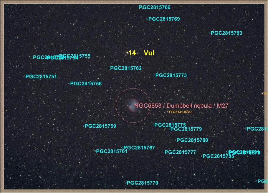Messier 27 Dumbbell Nebula Objectidentifikation - M 27 Hantelnebel Objektidentifikation MeixnerObservatorium