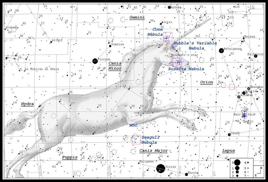 NGC 2237 • NGC 2238 • NGC 2239 • NGC 2244 • NGC 2246 • Rosettennebel- Aufsuchkarte MeixnerObservatorium