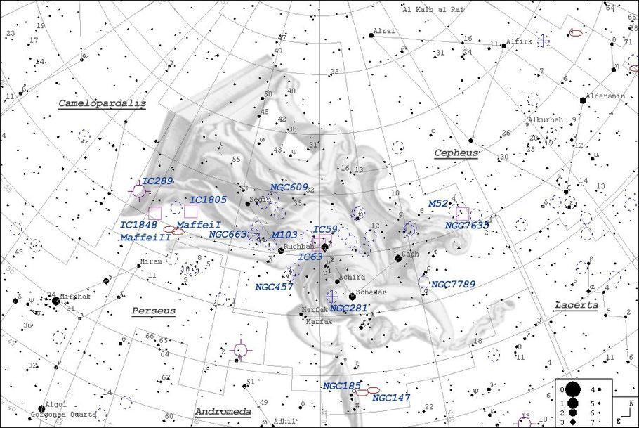 NGC 7635 Bubble-Nebula Finderchart - NGC 7635 - Blasen-Nebel - Aufsuchkarte MeixnerObservatorium