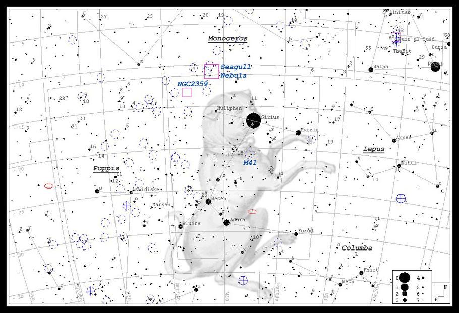Sirius; auch: α Canis Majoris  - Aufsuchkarte  MeixnerObservatorium