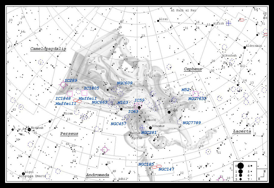 IC 1805 Herznebel Aufsuchkarte MeixnerObservatorium