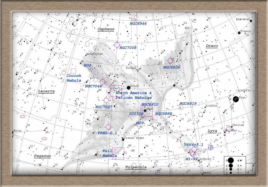 NGC 7000 Northamerica Nebula Finderchart - NGC 7000 Nordamerikanebel Aufsuchkarte MeixnerObservatorium