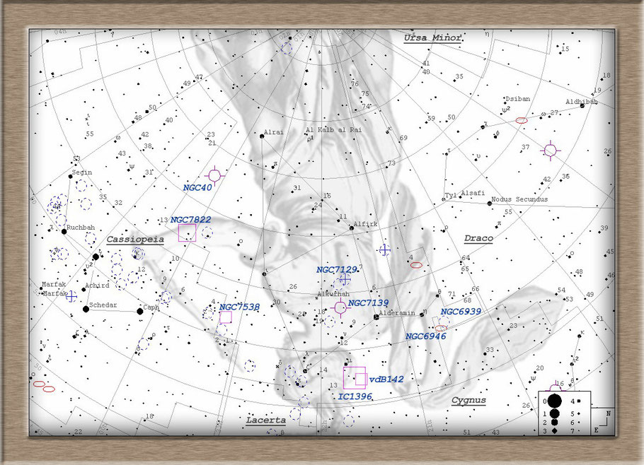 C 1396A - The Elephant Trunk Nebula Finderchart - Elefantenrüsselnebel - LBN 452 Aufsuchkarte MeixnerObservatorium
