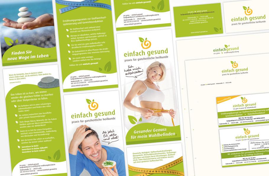 einfach gesund - Flyer, Visitenkarten, Briefbögen, Anzeigen