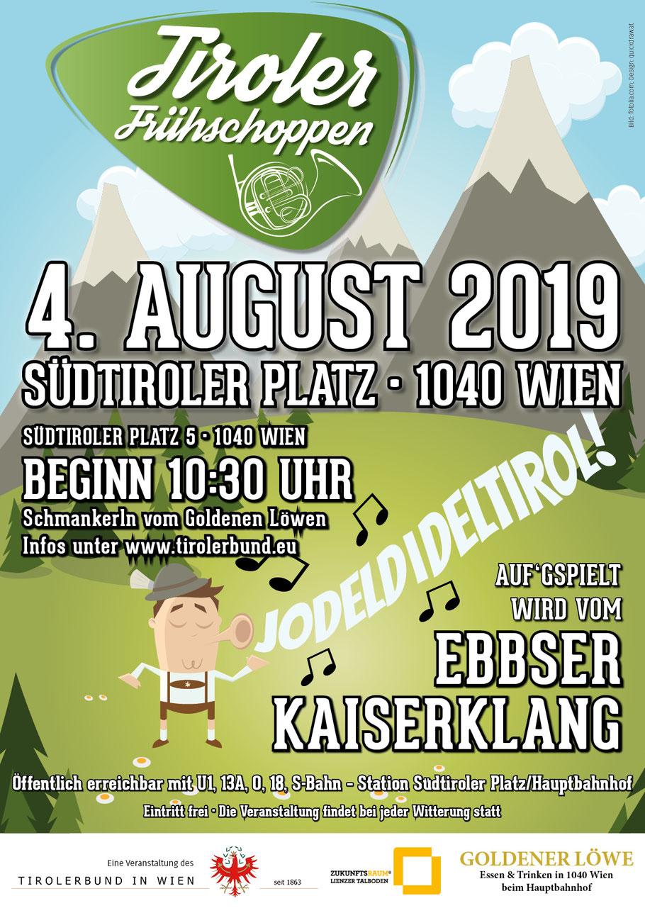 Plakat des Frühschoppen vom Tirolerbund am 4. August in Wien