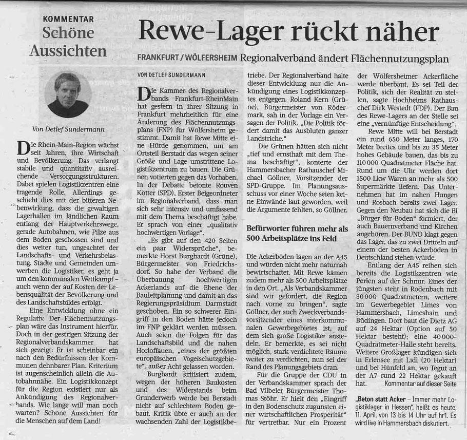 Frankfurter Rundschau vom 11. April 2019 über die Abstimmung im Regionalverband am 10. April.