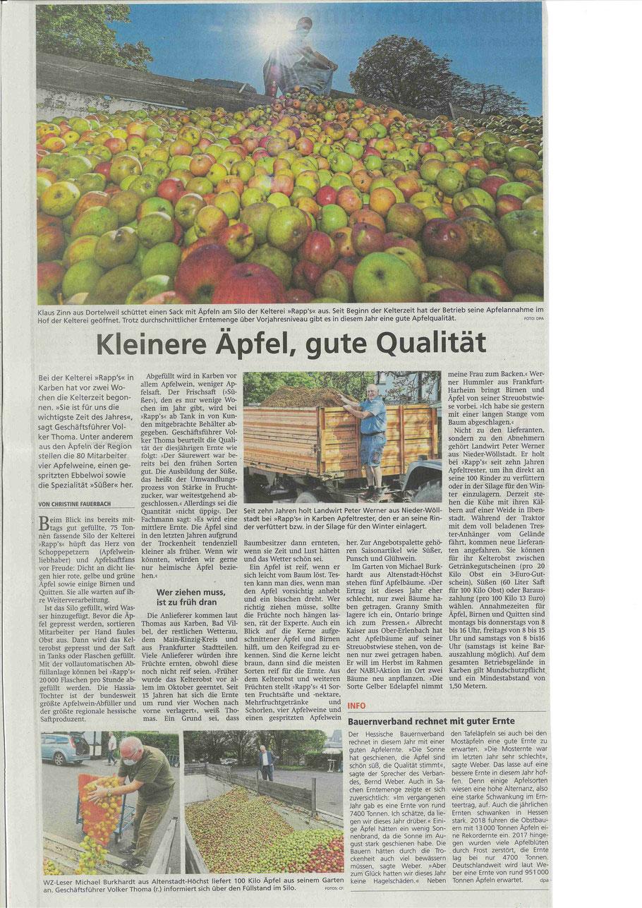 Wetterauer Zeitung vom 19.09.2020