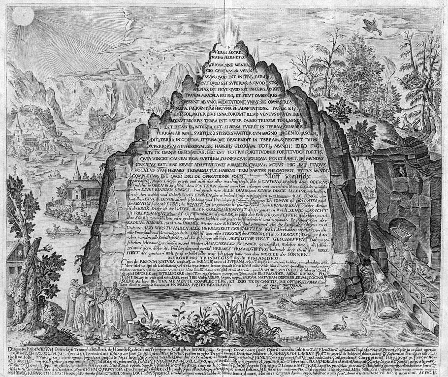 Stich der Tabula Smaragdina auf Latein und Deutsch von 1609