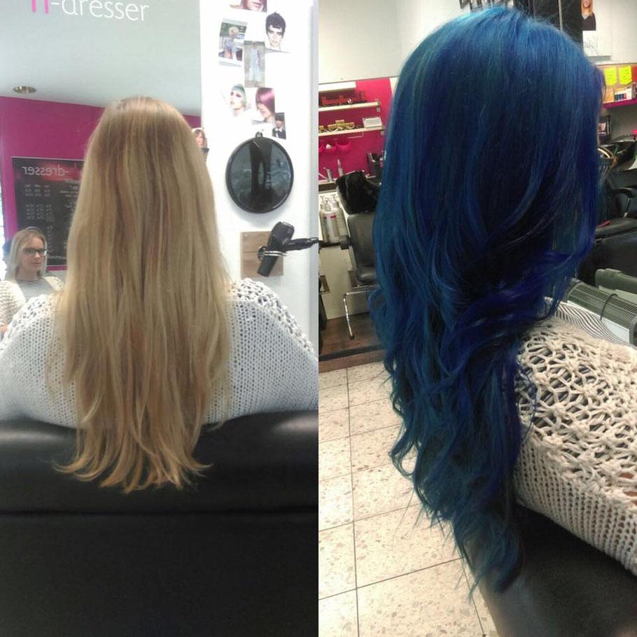 blaue haare, directions, haare färben in Bielefeld, Friseur ohne Termin Bielefeld, kurze haare Bielefeld,