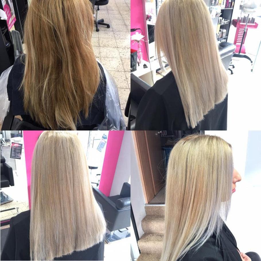 aschblond silberblond kaltes blond gefärbt fibre plex