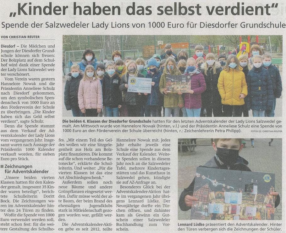 Artikel der Altmarkzeitung am 18. März 2021