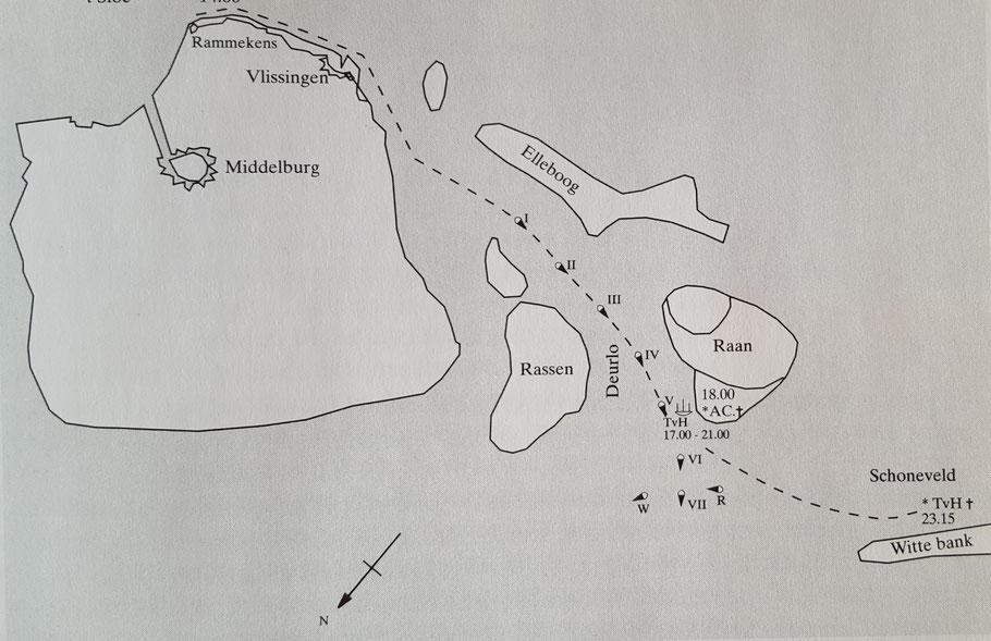 De tonnenlijn gereconstrueerd op basis van de kaart van 1743