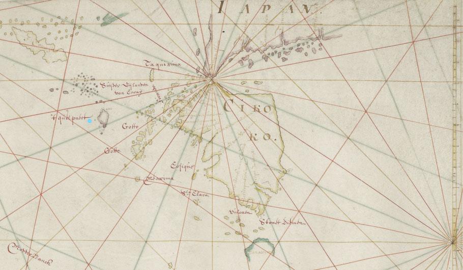 fragment van de kaart van Blaeu van Indië  met bij de blauwe stip het eiland Quelpaert ( bron: Nationaal Archief)