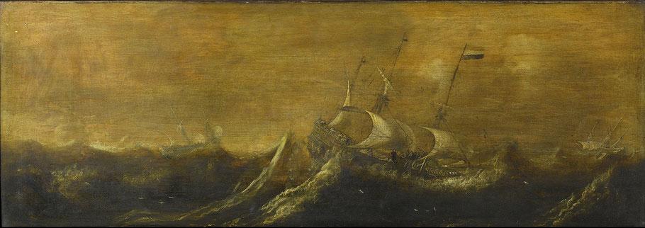 Schepen in de storm, toegeschreven aan Andries van Eertvelt (1600-1652) Rijkmuseum