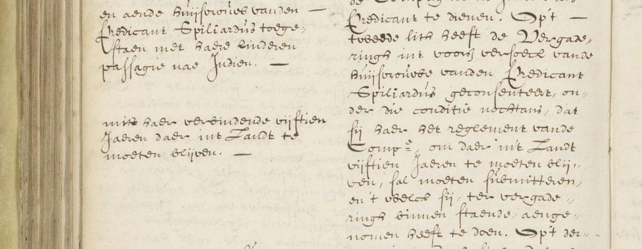 NA 1.04.02.212 DE Heeren XVII geven toestemming aan Cornelia om naar Indië te gaan.